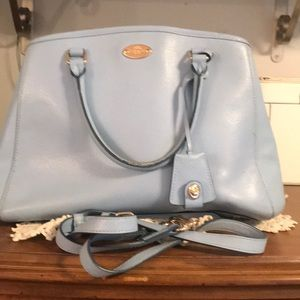 Coach baby blue purse with shoulder strap